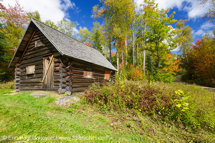 The Fabyan Guard Station during the autumn months. Built in 1923 by Clifford Graham along the old Jefferson Turnpike (now Old Cherry Mountain Road) in the White Mountains, New Hampshire. It's the last remaining guard station in the White Mountain National Forest. The cabin was built using spruce logs from the surrounding area.