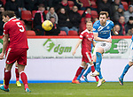Aberdeen v St Johnstone…29.04.17     SPFL    Pittodrie<br />Liam Craig's shot is blocked by Ash Taylor<br />Picture by Graeme Hart.<br />Copyright Perthshire Picture Agency<br />Tel: 01738 623350  Mobile: 07990 594431