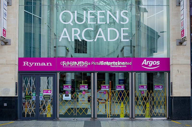 Pictured: A closed down Queens Arcade in Cardiff, Wales, UK. Friday 8th January 2021<br /> Re: The whole of Wales in in Tier 4 due to rising Covid-19 Coronavirus cases, Cardiff, Wales, UK.
