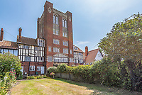 BNPS.co.uk (01202 558833)<br /> Pic: Savills/BNPS<br /> <br /> Water View...Former water tower near Aldeburgh in Suffolk<br /> <br /> A huge six storey former water tower which resembles a castle gate house has emerged on to the market for £1million.<br /> <br /> Grade II listed West Bar, in Thorpeness, provides the perfect vantage point to take in breathtaking views of the Suffolk coast.<br /> <br /> It was designed by architect William Gilmour Wilson in the 1920s in a mock tudor style, with mullioned windows and parapets.<br /> <br /> The six storey, five bedroom property, boasting distinctive full length windows and open fireplaces, has two spacious 'tower' rooms.<br /> <br /> The water tanks were taken out by the deceased owner about 20 years ago. It is being sold with estate agent Savills by his children.