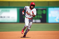 Palm Beach Cardinals center fielder Magneuris Sierra (7) running the bases during the first game of a doubleheader against the Clearwater Threshers on April 13, 2017 at Spectrum Field in Clearwater, Florida.  Clearwater defeated Palm Beach 1-0.  (Mike Janes/Four Seam Images)