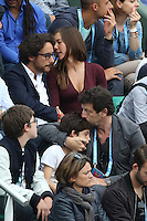 Thomas Hollande and girlfriend, Patrick Bruel and his son seen watching tennis during Roland Garros tennis open 2016 on may 28 2016.