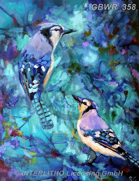 Simon, REALISTIC ANIMALS, REALISTISCHE TIERE, ANIMALES REALISTICOS, innovativ, paintings+++++SueGardner_BlueJays,GBWR358,#a#, EVERYDAY
