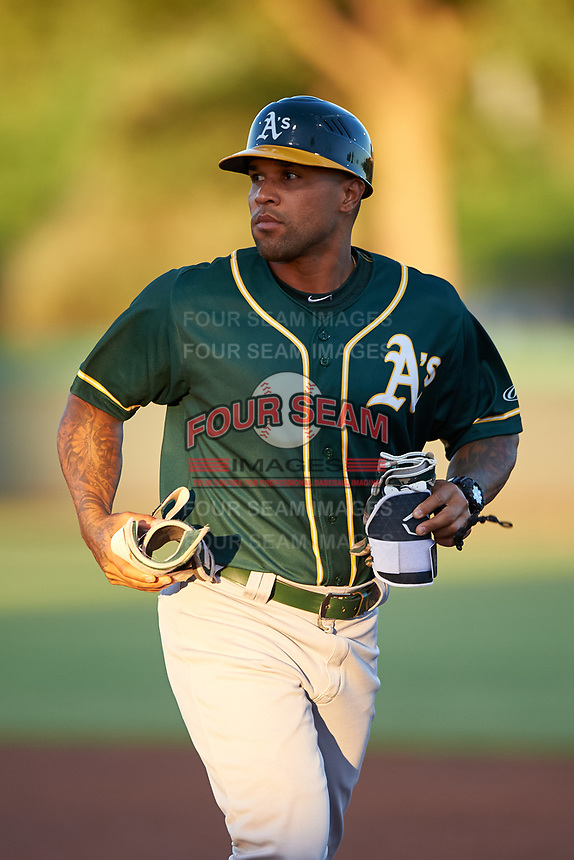 AZL Athletics Green coach Gabriel Ortiz (16) during an Arizona League game against the AZL Dodgers Lasorda at Camelback Ranch on June 19, 2019 in Glendale, Arizona. AZL Dodgers Lasorda defeated AZL Athletics Green 9-5. (Zachary Lucy/Four Seam Images)