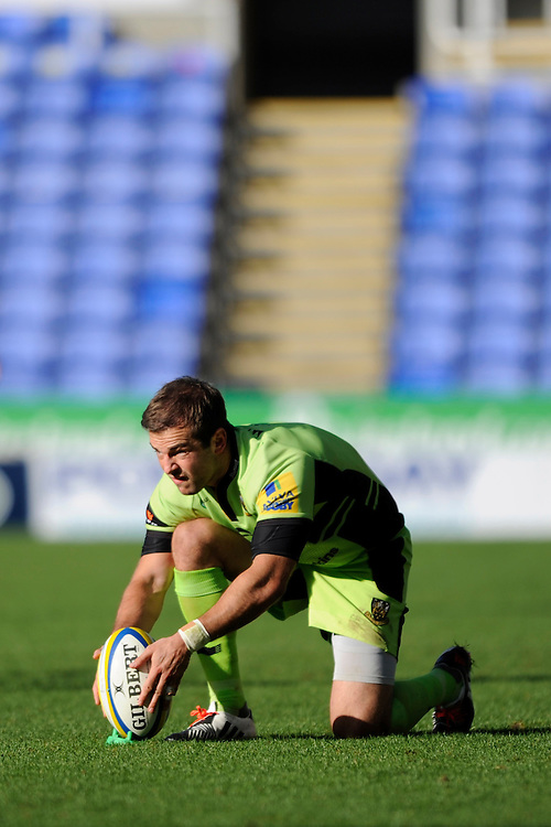 Stephen Myler of Northampton Saints lines up a penalty kick during the Premiership Rugby match between London Irish and Northampton Saints at the Madejski Stadium on Saturday 4th October 2014 (Photo by Rob Munro)