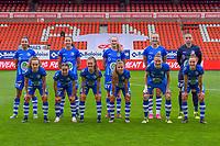 team KAA Gent ( Jolet Lommen (9) , Silke Vanwynsberghe (21) , Feli Delacauw (44) , Lobke Loonen (19) , goalkeeper Nicky Evrard (1) and Jasmien Mathys (12) , Rkia Mazrouai (2) , Emma Van Britsom (6) , Lyndsey Van Belle (14) , Heleen Jaques (4) , Chloe Vande Velde (10) ) pictured during a female soccer game between Standard Femina de Liege and AA Gent Ladies on the 6th matchday in play off 1 of the 2020 - 2021 season of Belgian Scooore Womens Super League , tuesday 11 th of May 2021  in Liege , Belgium . PHOTO SPORTPIX.BE   SPP   STIJN AUDOOREN