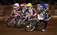 Heat 6: Mikkel Bech (blue), Davey Watt (red), Patrick Hougaard (yellow) and Jason Doyle (white) - Lakeside Hammers vs Leicester Lions, Elite League Speedway at the Arena Essex Raceway, Pufleet - 04/04/14 - MANDATORY CREDIT: Rob Newell/TGSPHOTO - Self billing applies where appropriate - 0845 094 6026 - contact@tgsphoto.co.uk - NO UNPAID USE