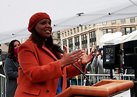 NEW YORK, NEW YORK- FEBRUARY 27, 2021: New YorkState Attorney General Leticia James delivers remarks and attends the American Asian Federation's Anti-Asian Hate Rally held at Foley Square/Federal Plaza in the lower Manhattan section of New York City on February 27, 2021.  Photo Credit: mpi43/MediaPunclh