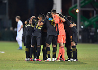 LAKE BUENA VISTA, FL - JULY 18: LAFC huddle during a game between Los Angeles Galaxy and Los Angeles FC at ESPN Wide World of Sports on July 18, 2020 in Lake Buena Vista, Florida.