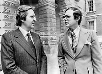 1978 FILE PHOTO - ARCHIVES -<br /> <br /> Richard Holden (left) and Paul Demers head a group seeking an interim injunction to stop Sun Life holding a vote on moving its head offices from Montreal to Toronto. They argue that the company caused confusion by giving three different resons for move and didn't supply enough data.<br /> <br /> PHOTO :  John Mahler - Toronto Star Archives - AQP