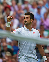 England, London, 27.06.2014. Tennis, Wimbledon, AELTC, Novak Djokovic (SRB) defeats Simon and celebrates<br /> Photo: Tennisimages/Henk Koster