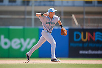 Daytona Tortugas second baseman Brantley Bell (24) throws to first base during a game against the Dunedin Blue Jays on April 22, 2018 at Dunedin Stadium in Dunedin, Florida.  Daytona defeated Dunedin 5-1.  (Mike Janes/Four Seam Images)