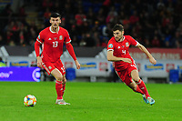 Kiefer Moore of Wales in action during the UEFA Euro 2020 Qualifier between Wales and Croatia at the Cardiff City Stadium in Cardiff, Wales, UK. Sunday 13 October 2019