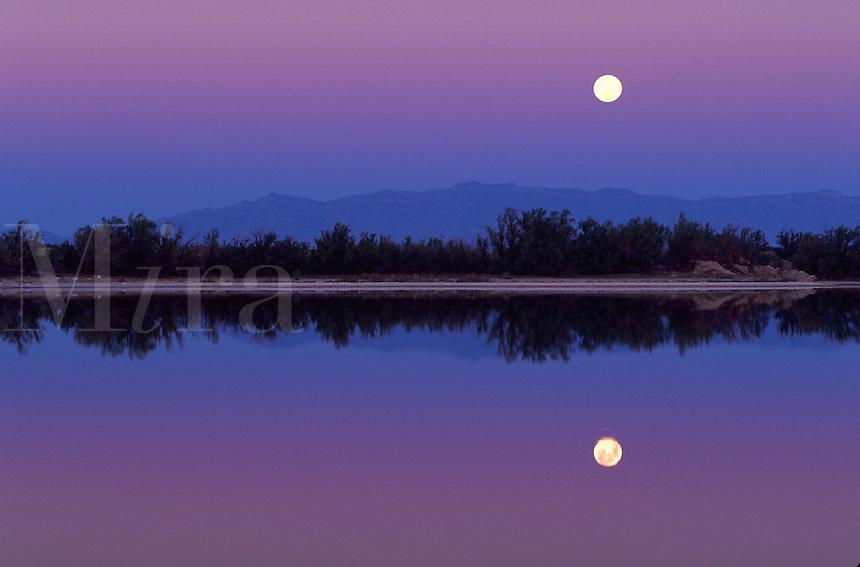 Full moon at dawn, Lake Holoman, New Mexico