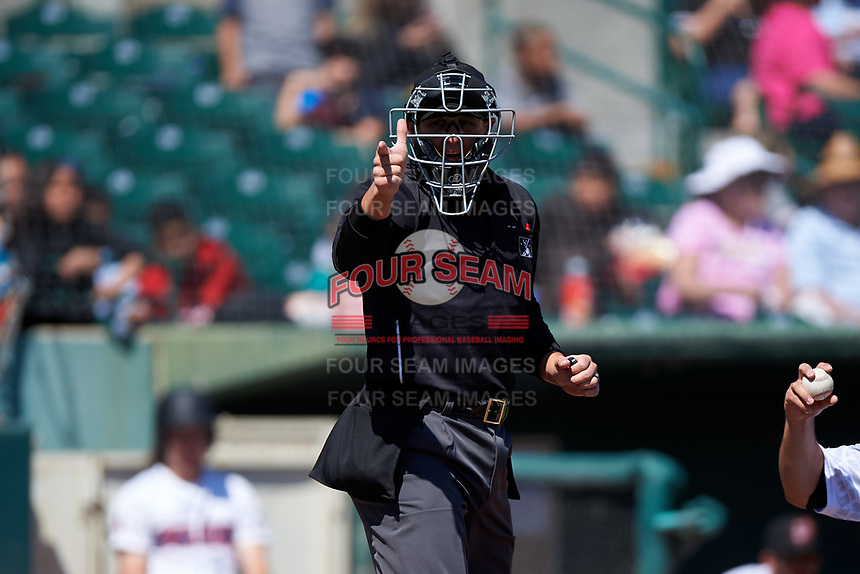 Home plate umpire Anthony Warner during a California League game between the Modesto Nuts and the 66ers on April 10, 2019 at San Manuel Stadium in San Bernardino, California. Inland Empire defeated Modesto 5-4 in 13 innings. (Zachary Lucy/Four Seam Images)
