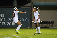 STANFORD, CA - NOVEMBER 22: Stanford, CA - November 22, 2019: Catarina Macario, Maya Doms at Laird Q. Cagan Stadium. The Stanford Cardinal defeated Hofstra 4-0 in the second round of the NCAA tournament. during a game between Hofstra and Stanford Soccer W at Laird Q. Cagan on November 22, 2019 in Stanford, California.
