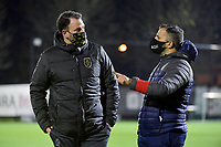 head coach Hamide Lamara (Standard) and Charleroi head coach Tiziano Rutilo pictured before a female soccer game between Sporting Charleroi and Standard Femina de Liege on the sixth matchday of the 2020 - 2021 season of Belgian Scooore Womens Super League , friday 6 th of November 2020  in Marcinelle , Belgium . PHOTO SPORTPIX.BE | SPP | STIJN AUDOOREN