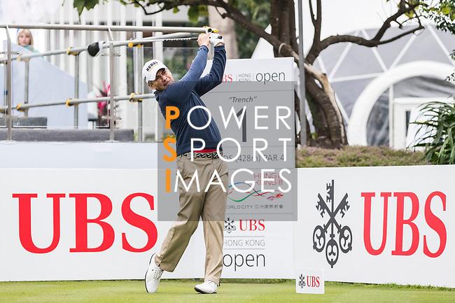 Adilson Da Silva of Brazil tees off during the day four of UBS Hong Kong Open 2017 at the Hong Kong Golf Club on 26 November 2017, in Hong Kong, Hong Kong. Photo by Yu Chun Christopher Wong / Power Sport Images