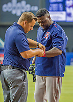 1 April 2016: Boston Red Sox designated hitter David Ortiz is attended to as he awaits his turn in the batting cage prior to a pre-season exhibition game against the Toronto Blue Jays at Olympic Stadium in Montreal, Quebec, Canada. The Red Sox defeated the Blue Jays 4-2 in the first of two MLB weekend exhibition games, which saw an attendance of 52,682 at the former home on the Montreal Expos. Mandatory Credit: Ed Wolfstein Photo *** RAW (NEF) Image File Available ***