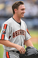Aberdeen IronBirds Jordan Westburg (16) during a game against the Asheville Tourists on June 19, 2021 at McCormick Field in Asheville, NC. (Tony Farlow/Four Seam Images)