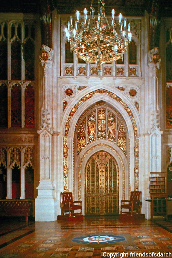 Peers' Lobby, an antechamber of Parliament where the lords gather before entering the House of Lords. Westminster, London, England.  Designed by Augustus Pugin.