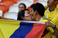 SARANSK - RUSIA, 19-06-2018: Hinchas de Colombia se besan durante partido de la primera fase, Grupo H, entre Colombia y Japón por la Copa Mundial de la FIFA Rusia 2018 jugado en el estadio Mordovia Arena en Saransk, Rusia. / Fans of Colombia are seen kissing during the match between Colombia and Japan of the first phase, Group H, for the FIFA World Cup Russia 2018 played at Mordovia Arena stadium in Saransk, Russia. Photo: VizzorImage / Julian Medina / Cont