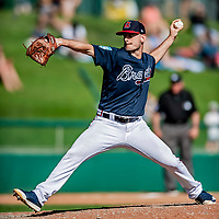 25 February 2019: Atlanta Braves pitcher Grant Dayton on the mound during a pre-season Spring Training game against the Washington Nationals at Champion Stadium in the ESPN Wide World of Sports Complex in Kissimmee, Florida. The Braves defeated the Nationals 9-4 in Grapefruit League play in what will be their last season at the Disney / ESPN Wide World of Sports complex. Mandatory Credit: Ed Wolfstein Photo *** RAW (NEF) Image File Available ***