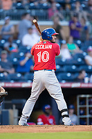 Darrell Ceciliani (10) of the Buffalo Bisons at bat against the Durham Bulls at Durham Bulls Athletic Park on April 30, 2017 in Durham, North Carolina.  The Bisons defeated the Bulls 6-1.  (Brian Westerholt/Four Seam Images)