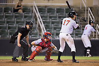 Casey Schroeder (17) of the Kannapolis Intimidators at bat against the Hagerstown Suns at Kannapolis Intimidators Stadium on June 14, 2017 in Kannapolis, North Carolina.  The Intimidators defeated the Suns 10-1 in game two of a double-header.  (Brian Westerholt/Four Seam Images)