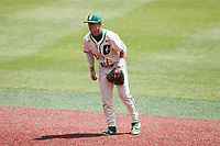 Charlotte 49ers second baseman Carson Johnson (2) on defense against the Old Dominion Monarchs at Hayes Stadium on April 25, 2021 in Charlotte, North Carolina. (Brian Westerholt/Four Seam Images)