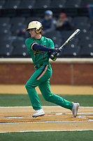 Ryan Cole (1) of the Notre Dame Fighting Irish follows through on his swing against the Wake Forest Demon Deacons at David F. Couch Ballpark on March 10, 2019 in  Winston-Salem, North Carolina. The Demon Deacons defeated the Fighting Irish 7-4 in game one of a double-header.  (Brian Westerholt/Four Seam Images)