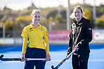 Hockeyroos midfielder Stephanie Kershaw (left) and Vantage Black Sticks women's captain Stacey Michelsen. Sentinel Homes Trans-Tasman Hockey Series captain's call at Massey University in Palmerston North, New Zealand on Wednesday, 26 May 2021. Photo: Dave Lintott / lintottphoto.co.nz