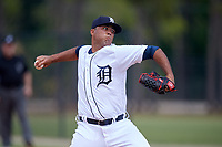 Detroit Tigers pitcher Eduardo Jimenez (47) during a Minor League Spring Training game against the Atlanta Braves on March 19, 2018 at the TigerTown Complex in Lakeland, Florida.  (Mike Janes/Four Seam Images)