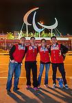 Tyler Mosher, Ian Lockey, Michelle Salt and John Leslie, Sochi 2014.<br /> Team Canada arrives at the airport in Sochi for the Sochi 2014 Paralympic Winter // Équipe Canada arrive à l'aéroport de Sotchi pour Sochi 2014 Jeux paralympiques d'hiver. 05/03/2014.