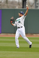 Cedar Rapids Kernels center fielder Christian Cavaness (18) throws to second base during a game against the Beloit Snappers at Veterans Memorial Stadium on April 9, 2017 in Cedar Rapids, Iowa.  The Kernels won 6-1.  (Dennis Hubbard/Four Seam Images)