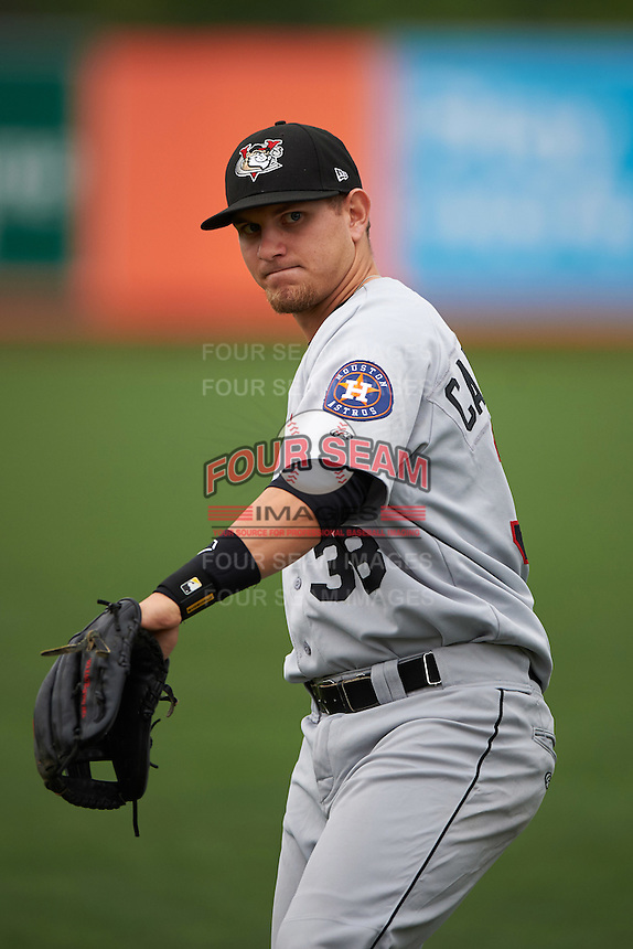 Tri-City ValleyCats Kolbey Carpenter (38) warms up before a game against the Aberdeen Ironbirds on August 6, 2015 at Ripken Stadium in Aberdeen, Maryland.  Tri-City defeated Aberdeen 5-0 in a combined no-hitter.  (Mike Janes/Four Seam Images)