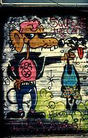 Mlano, 1990.Un graffito all'esterno del CS Conchetta..Foto Livio Senigalliesi