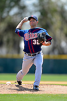 Minnesota Twins pitcher Matt Summers #32 during a minor league Spring Training game against the Baltimore Orioles at Buck O'Neil Complex on March 26, 2013 in Sarasota, Florida.  (Mike Janes/Four Seam Images)