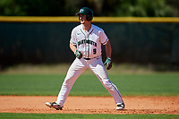 Dartmouth Big Green catcher Kyle Holbrook (9) leads off second base during a game against the Villanova Wildcats on March 3, 2018 at North Charlotte Regional Park in Port Charlotte, Florida.  Dartmouth defeated Villanova 12-7.  (Mike Janes/Four Seam Images)