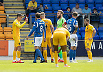 St Johnstone v Livingston….10.08.19      McDiarmid Park     SPFL <br />Lyndon Dykes brandishes a yellow card after ref Andrew Dallas dropped it<br />Picture by Graeme Hart. <br />Copyright Perthshire Picture Agency<br />Tel: 01738 623350  Mobile: 07990 594431