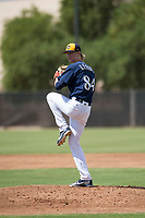 Milwaukee Brewers relief pitcher Caden Lemons (84) delivers a pitch during an Instructional League game against the Los Angeles Dodgers at Maryvale Baseball Park on September 24, 2018 in Phoenix, Arizona. (Zachary Lucy/Four Seam Images)