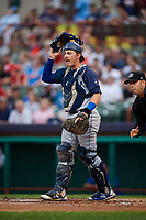 Brooklyn Cyclones catcher Nick Meyer (26) during a game against the Tri-City ValleyCats on August 21, 2018 at Joseph L. Bruno Stadium in Troy, New York.  Tri-City defeated Brooklyn 5-2.  (Mike Janes/Four Seam Images)