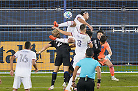 SAN JOSE, CA - OCTOBER 28: Florian Jungwirth #23 of the San Jose Earthquakes goes up for a header with Marcelo Silva #30 of Real Salt Lake during a game between Real Salt Lake and San Jose Earthquakes at Earthquakes Stadium on October 28, 2020 in San Jose, California.
