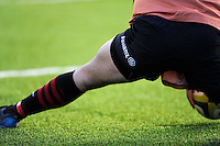 20130127 Copyright onEdition 2013©.Free for editorial use image, please credit: onEdition..Close up of Allianz branding on a player's shorts during the LV= Cup match between Saracens and Cardiff Blues at Allianz Park on Sunday 27th January 2013 (Photo by Rob Munro)..For press contacts contact: Sam Feasey at brandRapport on M: +44 (0)7717 757114 E: SFeasey@brand-rapport.com..If you require a higher resolution image or you have any other onEdition photographic enquiries, please contact onEdition on 0845 900 2 900 or email info@onEdition.com.This image is copyright onEdition 2013©..This image has been supplied by onEdition and must be credited onEdition. The author is asserting his full Moral rights in relation to the publication of this image. Rights for onward transmission of any image or file is not granted or implied. Changing or deleting Copyright information is illegal as specified in the Copyright, Design and Patents Act 1988. If you are in any way unsure of your right to publish this image please contact onEdition on 0845 900 2 900 or email info@onEdition.com