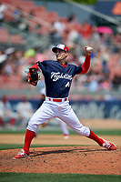 Reading Fightin Phils relief pitcher Tim Berry (40) delivers a pitch during the first game of a doubleheader against the Portland Sea Dogs on May 15, 2018 at FirstEnergy Stadium in Reading, Pennsylvania.  Portland defeated Reading 8-4.  (Mike Janes/Four Seam Images)