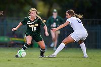 Baylor midfielder Ashley York (16) look to go around TCU defender during first half of NCAA soccer game, Friday, October 03, 2014 in Waco, Tex. TCU and Baylor are tied 1-1 at the halftime. (Mo Khursheed/TFV Media via AP Images)