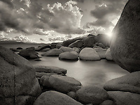 Storm clouds and granite boulders on east side of Lake Tahoe, Nevada