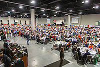 A crowd of over 2,000 attend the 2016 Iditarod musher postion drawing banquet at the Dena'ina convention center in Anchorage, Alaska on Thursday March 3, 2016  <br /> <br /> © Jeff Schultz/SchultzPhoto.com ALL RIGHTS RESERVED<br /> DO NOT REPRODUCE WITHOUT PERMISSION