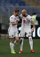 Football, Serie A: AS Roma - Torino, Olympic stadium, Rome, January 19, 2019. <br /> Torino's Cristian Daniel Ansaldi (l) celebrates after scoring with his teammate Simone Zaza (r) during the Italian Serie A football match between AS Roma and Torino at Olympic stadium in Rome, on January 19, 2019.<br /> UPDATE IMAGES PRESS/Isabella Bonotto