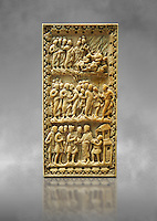 Medieval ivory relief panel depicting the arrest of Christ.  From the workshop of Charles-le-Chauve circa 870 AD.. Inv. OA 9526, The Louvre Museum, Paris.